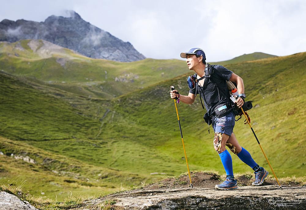 トレラン雨宮選手、シナノトレランポールで走る